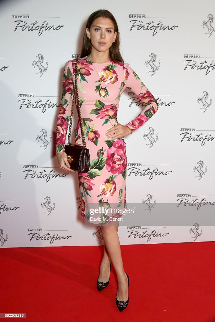 Sabrina Percy attends the UK launch of the Ferrari Portofino at Kensington Olympia on November 29, 2017 in London, England.
