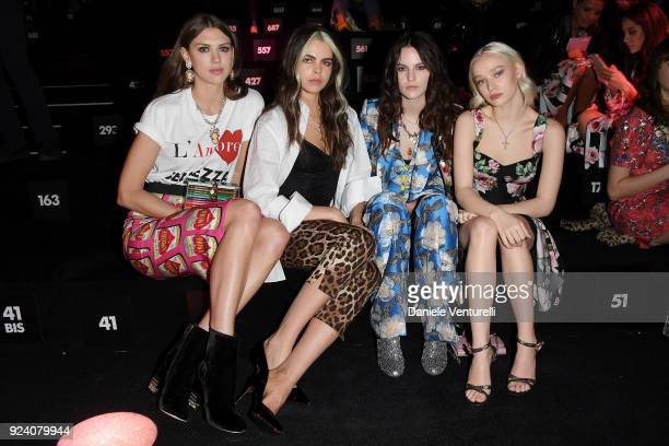 Sabrina Percy Bee Beardsworth Daisy Maybe and Maddi Waterhouse attend the Dolce Gabbana show during Milan Fashion Week Fall/Winter 2018/19 on...