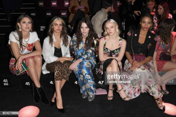Sabrina Percy Bee Beardsworth Daisy Maybe Maddi Waterhouse and Emma Thynn attend the Dolce Gabbana show during Milan Fashion Week Fall/Winter 2018/19...