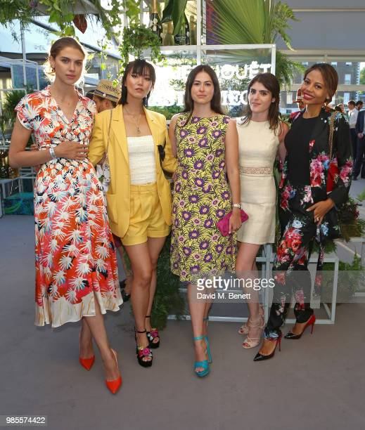 Sabrina Percy Betty Bachz guest Lexi Abrams and Emma Weymouth attend the Perrier Jouet VIP reception on the Perrier Jouet Champagne Terrace at...