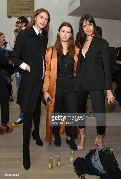 Sabrina Percy Danielle Copperman and guest attend the Markus Lupfer show during London Fashion Week February 2018 at The Swiss Church on February 17...