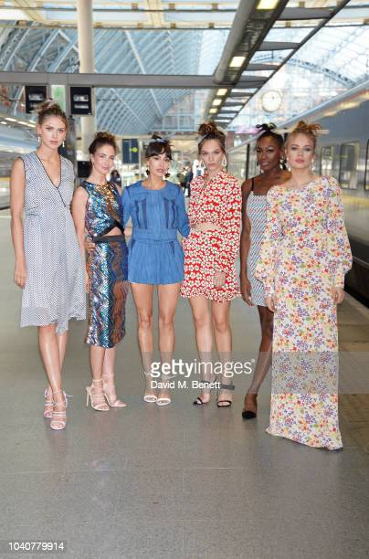 Sabrina Percy Lauren Cuthbertson Zara Martin Anna Brewster Perri Shakes Drayton and Xenia Tchoumi attends the Deborah Lyons SS19 collection show...