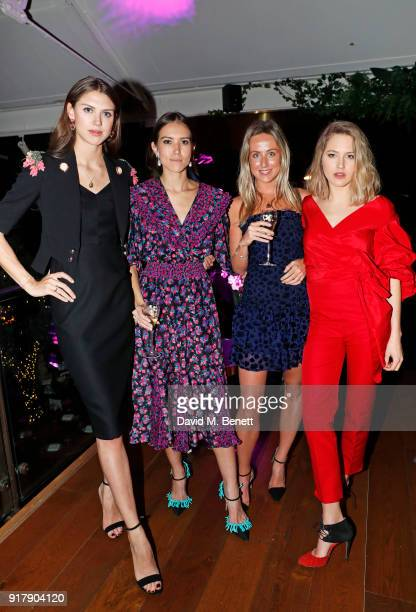 Sabrina Percy Lily Worcester Jemima Cadbury and Tess Ward attend a Valentine's dinner at The Living Room Champagne and Cocktail Bar by PerrierJouet...