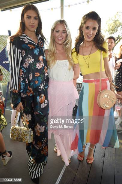 Sabrina Percy Tabitha Willett and Rosanna Falconer attend the launch of the collaboration between House of Holland Papier on July 16 2018 in London...