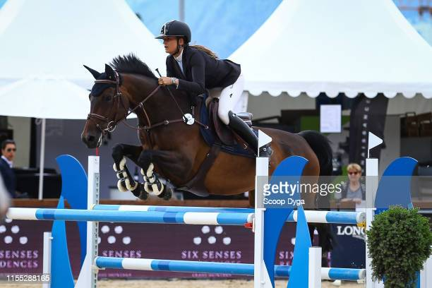 Sabrina Pittet OF SWITZERLAND riding Betise du Busson during the Jumping Longines Crans-Montana at Crans-sur-Sierre on July 12, 2019 in...