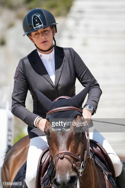 Sabrina Pittet OF SWITZERLAND riding Betise du Busson during the Jumping Longines Crans Montana at Crans-sur-Sierre on July 14, 2019 in...