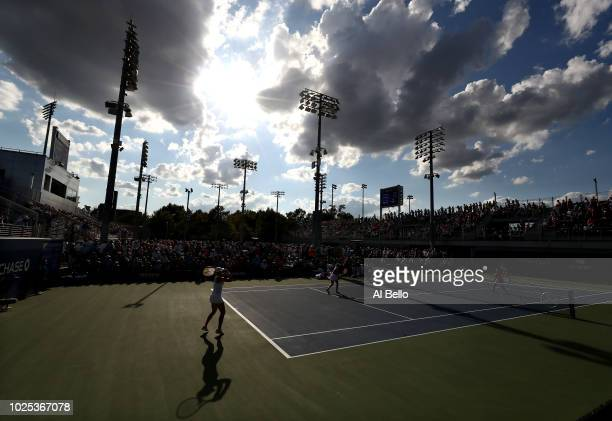 Sabrina Santamaria and Nicole Gibbs of the United States play Alexa Guarachi and Vera Lapko during the women's doubles first round match on Day Four...