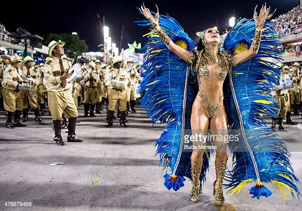 Sabrina Sato Queen of Percussion and members of Vila Isabel samba school perform during its parade at 2014 Brazilian Carnival at Sapucai Sambadrome...