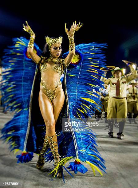 Sabrina Sato Queen of Percussion of Vila Isabel samba school performs during its parade at 2014 Brazilian Carnival at Sapucai Sambadrome on March 03...