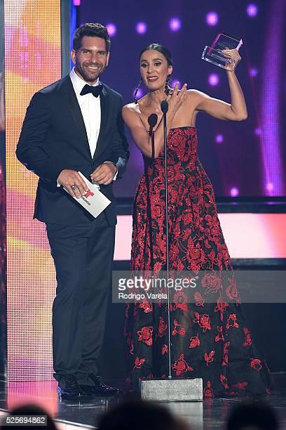 Sabrina Seara and Arap Bethke speak onstage at the Billboard Latin Music Awards at Bank United Center on April 28 2016 in Miami Florida
