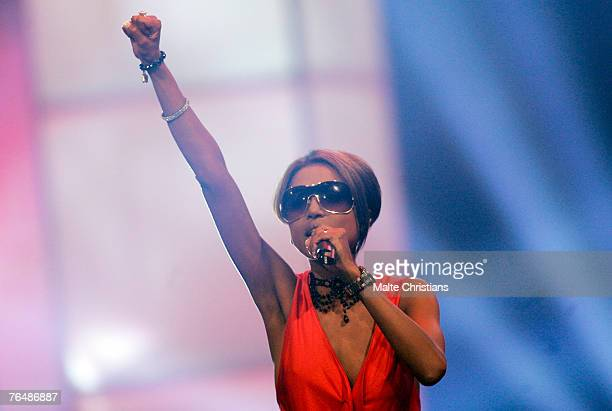 Sabrina Setlur performs during The Dome 43 music show at the Color Line Arena on August 31 2007 in Hamburg Germany