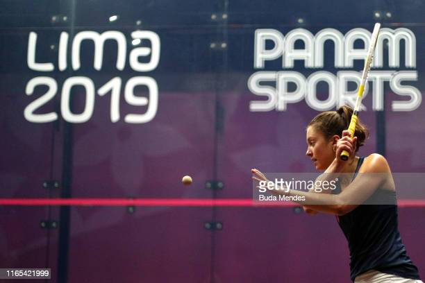 Sabrina Sohby of United States plays a shot during Women's Squash Team Gold Medal match between Canada and United States on Day 5 of Lima 2019 Pan...
