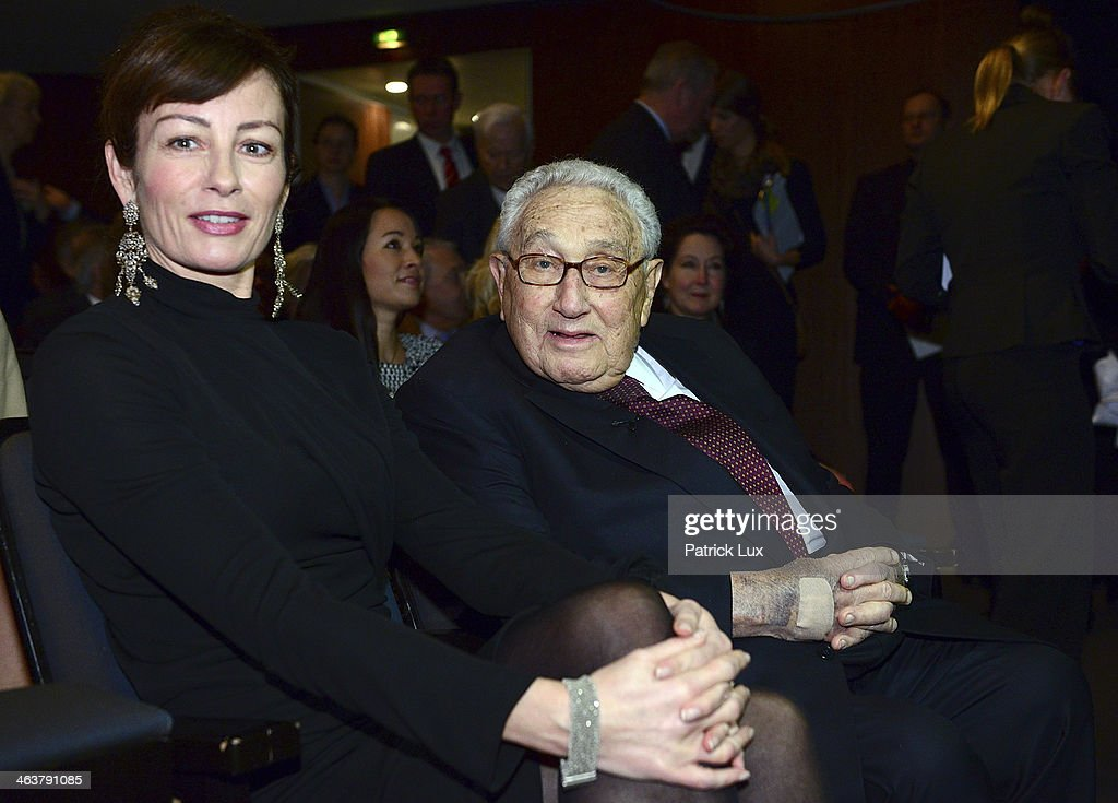 Sabrina Staubitz and former U.S. Secretary of State Henry Kissinger attend a celebration hosted by Die Zeit newspaper on the occasion of Schmidt's 95th birthday at the Thalia theater on January 19, 2014 in Hamburg, Germany. Schmidt, a Social Democrat (SPD), was Chancellor of West Germany from 1974 to 1982.