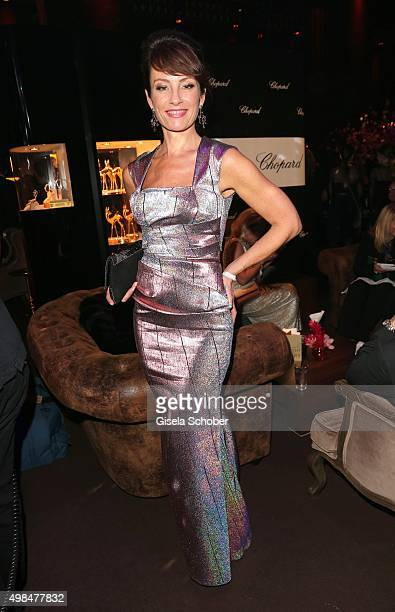 Sabrina Staubitz wearing a dress by Talbot Runhof during the Bambi Awards 2015 after show party at Stage Theater on November 12 2015 in Berlin Germany