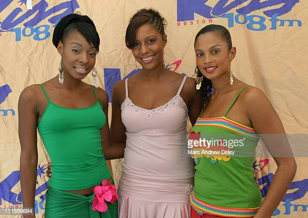 Sabrina SuElise and Alesha of Misteeq during Kiss 108 FM Concerts on the Charles August 14 2004 at Hatch Shell in Boston Massachusetts United States