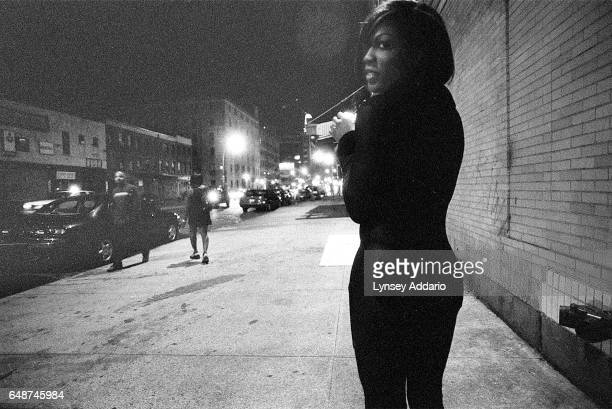 Sabrina waits for customers in the West Village in New York City in Sept 1999