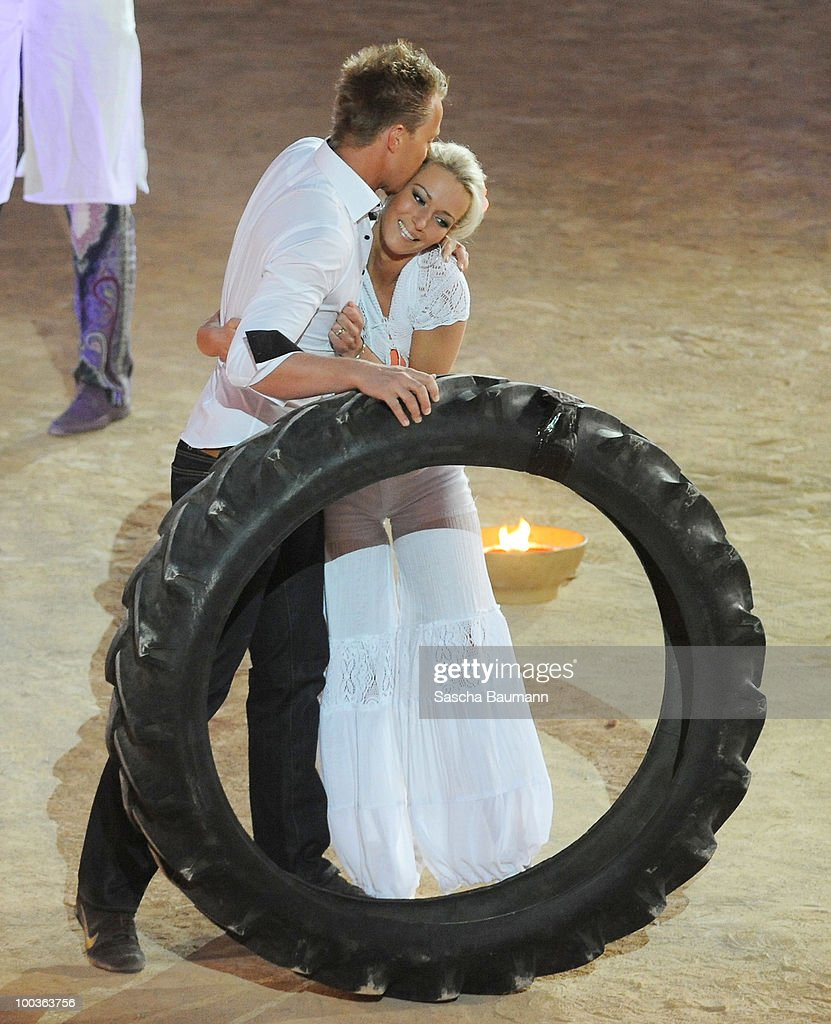 Sabrina Wasserthal is kissed by her husband after her bet performance during the Wetten Dass...? Summer Edition on May 23, 2010 in Palma de Mallorca, Spain.