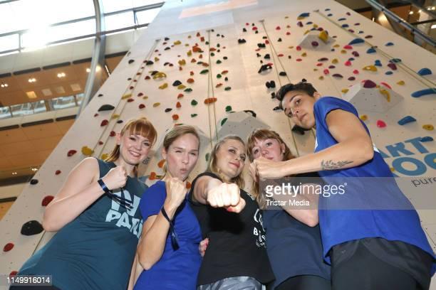 Sabrina Ziegler Ilka Gronewold Joanna Semmelrogge Regina Halmich and Alexa Benkert during the celebrity climbing at Europa Passage shopping mall on...