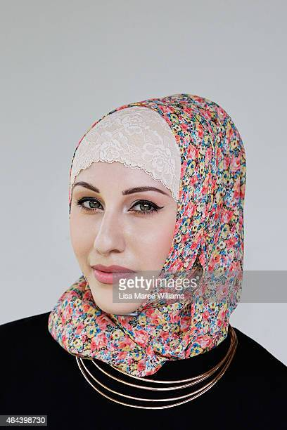 Sabrine Chahine poses for a portrait whilst visiting Sara Elmir's home clothing studio on December 4 2014 in Bankstown Australia Sara Elmir 26 and...