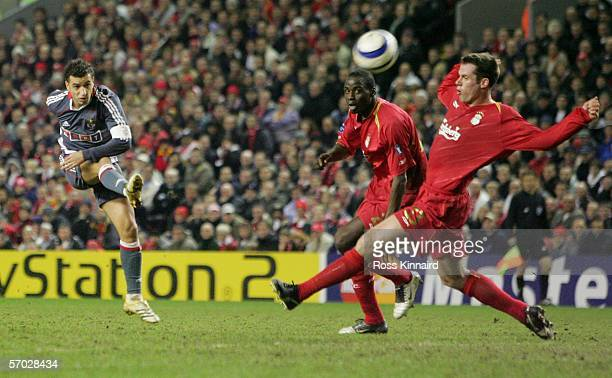 Sabrosa Simao of Benfica scores the opening goal during the last 16 2nd leg UEFA Champions League match between Liverpool and Benfica at Anfield on...