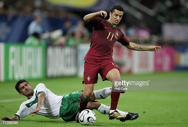 Sabrosa Simao of Portugal is tackled Zinha of Mexico during the FIFA World Cup Germany 2006 Group D match between Portugal and Mexico at the Stadium...