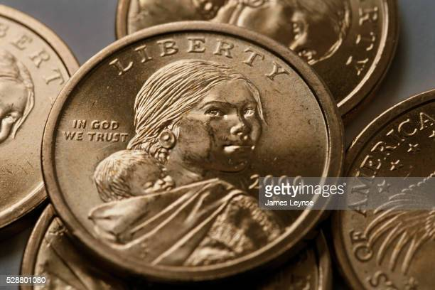 sacagawea one dollar coins - sacagawea stock pictures, royalty-free photos & images