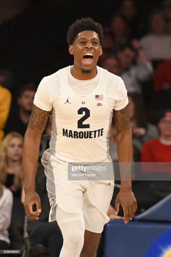 Sacar Anim #2 of the Marquette Golden Eagles celebrates a basket the first round of the Big East Men's Basketball Tournament against the DePaul Blue Demons at Madison Square Garden on March 7, 2018 in New York City. Photo by Mitchell Layton/Getty Images)
