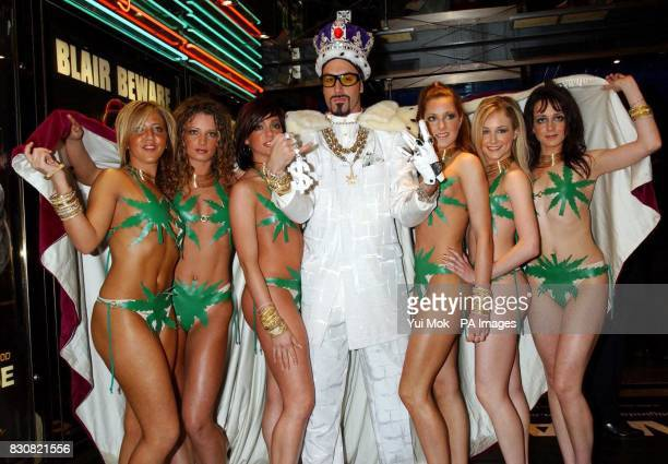 Sacha Baron Cohen aka Ali G and his 'bitches' arriving at the Empire Cinema in London's Leicester Square for the premiere of Ali G InDaHouse