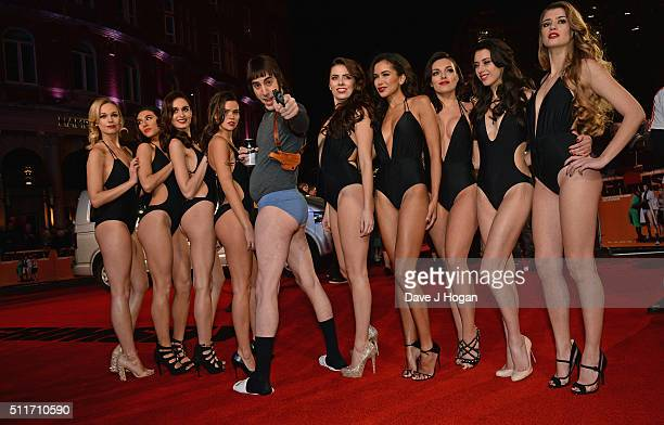 Sacha Baron Cohen and Grimsby girls attend the World premiere of 'Grimsby' at Odeon Leicester Square on February 22 2016 in London England