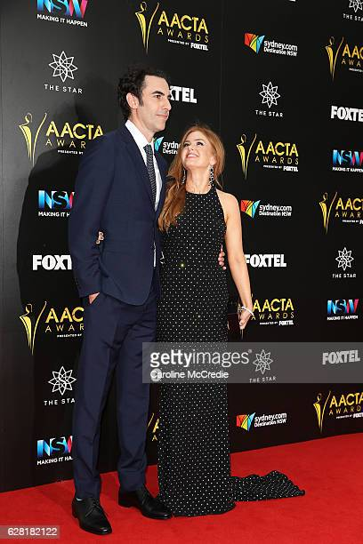 Sacha Baron Cohen and Isla Fisher arrive ahead of the 6th AACTA Awards Presented by Foxtel at The Star on December 7 2016 in Sydney Australia