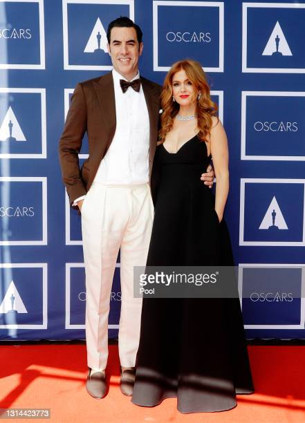 Sacha Baron Cohen and Isla Fisher attend a screening of the Oscars on April 26, 2021 in Sydney, Australia.