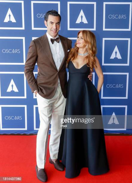 Sacha Baron Cohen and Isla Fisher attend a screening of the Oscars on Monday, April 26, 2021 in Sydney, Australia.