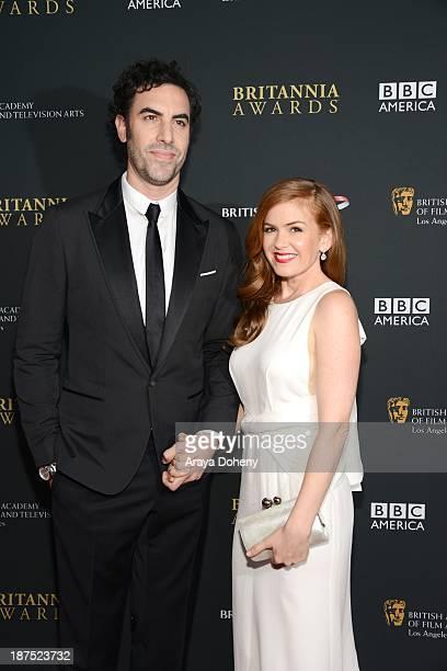 Sacha Baron Cohen and Isla Fisher attend the 2013 BAFTA LA Jaguar Britannia Awards presented by BBC America at The Beverly Hilton Hotel on November...