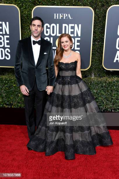 Sacha Baron Cohen and Isla Fisher attend the 76th Annual Golden Globe Awards at The Beverly Hilton Hotel on January 6 2019 in Beverly Hills California