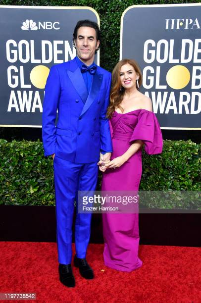 Sacha Baron Cohen and Isla Fisher attend the 77th Annual Golden Globe Awards at The Beverly Hilton Hotel on January 05, 2020 in Beverly Hills,...