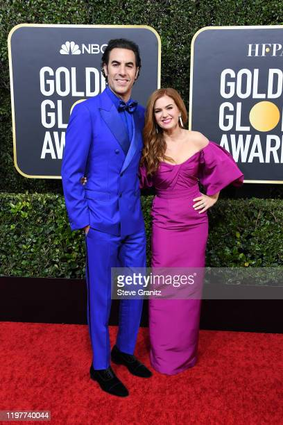 Sacha Baron Cohen and Isla Fisher attend the 77th Annual Golden Globe Awards at The Beverly Hilton Hotel on January 05 2020 in Beverly Hills...