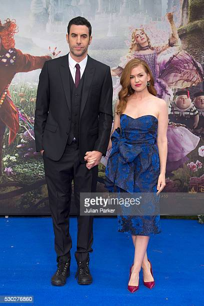 Sacha Baron Cohen and Isla Fisher attend the European premiere of 'Alice Through The Looking Glass' at Odeon Leicester Square on May 10 2016 in...