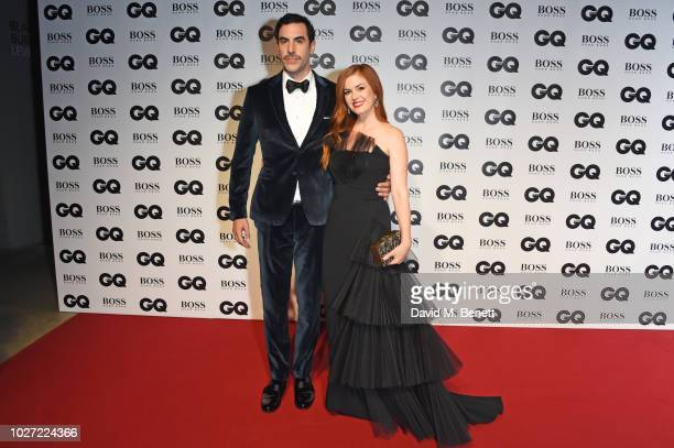 Sacha Baron Cohen and Isla Fisher attend the GQ Men of the Year Awards 2018 in association with HUGO BOSS at Tate Modern on September 5 2018 in...