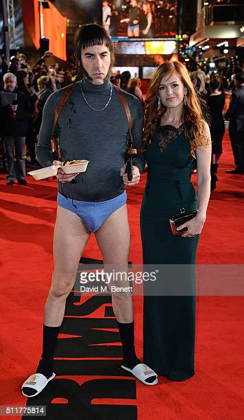 Sacha Baron Cohen and Isla Fisher attend the World Premiere of Grimsby at Odeon Leicester Square on February 22 2016 in London England