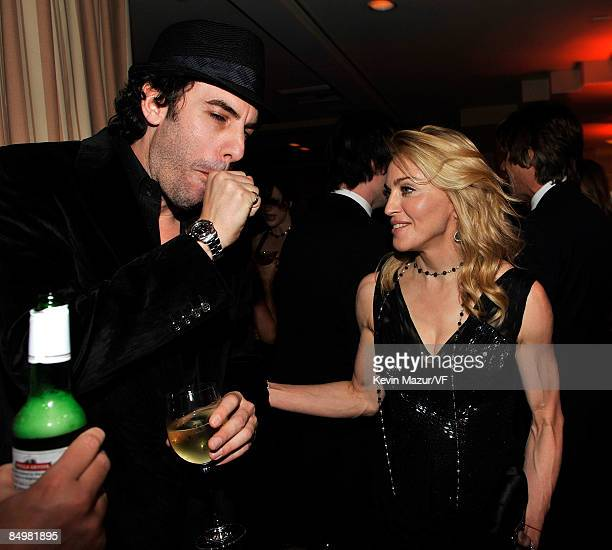 Sacha Baron Cohen and Madonna attends the 2009 Vanity Fair Oscar party hosted by Graydon Carter at the Sunset Tower Hotel on February 22 2009 in West...