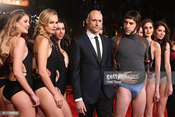 Sacha Baron Cohen and Mark Strong attend the word premiere of 'Grimsby' at Odeon Leicester Square on February 22 2016 in London England