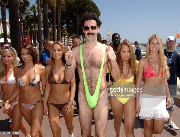 Sacha Baron Cohen as Borat during 2006 Cannes Film Festival Borat Arrives in Cannes at Cannes Beach in Cannes France