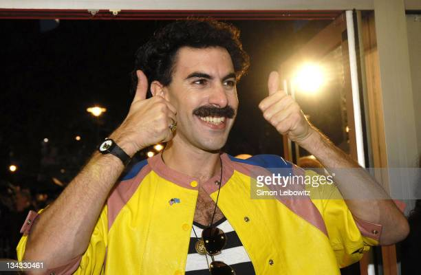 """Sacha Baron Cohen as """"Borat"""" during The Times BFI London Film festival : UK Premiere of Borat - Inside at Odeon West End in London, Great Britain."""