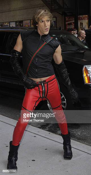 Sacha Baron Cohen dressed as Bruno visits 'Late Show With David Letterman' at the Ed Sullivan Theater on July 7 2009 in New York City