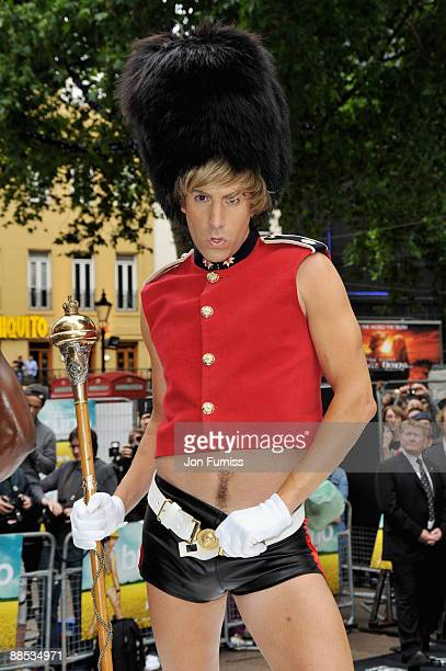 Sacha Baron Cohen in character as Bruno arrives at the UK Film Premiere of Bruno at the Empire Leicester Square on June 17 2009 in London England
