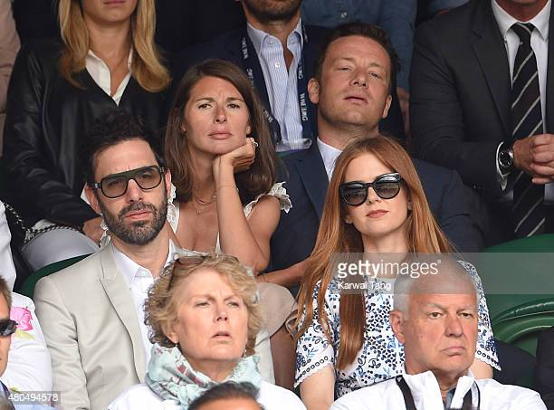 Sacha Baron Cohen, Jools Oliver, Jamie Oliver and Isla Fisher attend day 13 of the Wimbledon Tennis Championships at Wimbledon on July 12, 2015 in...
