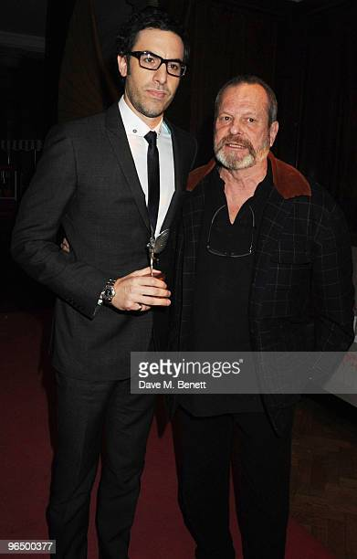 Sacha Baron Cohen with The Peter Sellers Award For Comedy and Terry Gilliam attend the London Evening Standard British Film Awards 2010 at The London...