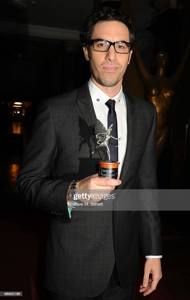 Sacha Baron Cohen with The Peter Sellers Award For Comedy attends the London Evening Standard British Film Awards 2010, at The London Film Museum on February 8, 2010 in London, England.
