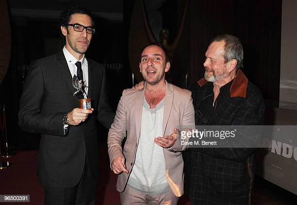 Sacha Baron Cohen with The Peter Sellers Award For Comedy with Dan Mazer and Terry Gilliam attend the London Evening Standard British Film Awards...