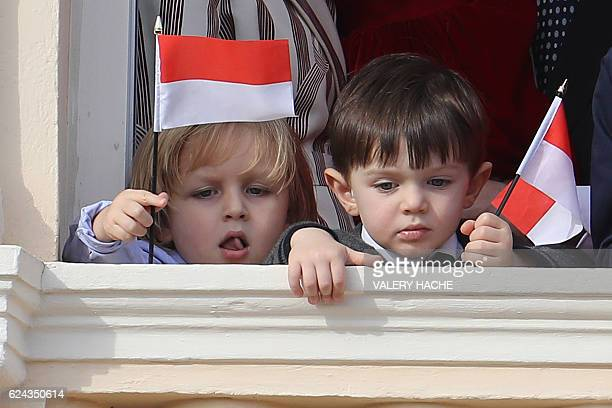 Sacha Casiraghi and Raphael Casiraghi appear on the balcony of the Monaco Palace during the celebrations marking Monaco's National Day on November 19...